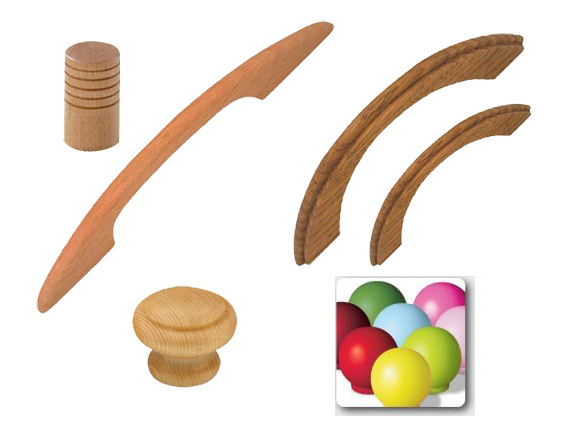 drevené úchyty a knopky