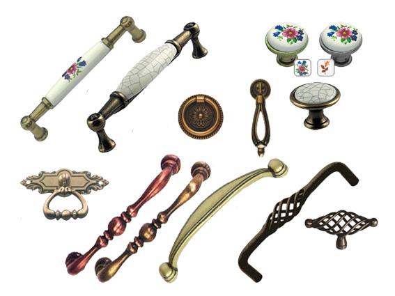retro, bronzové úchytky a knopky